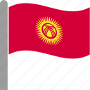 country, flag, kgz, kyrgyzstan, kyrgyzstani, pole, waving icon