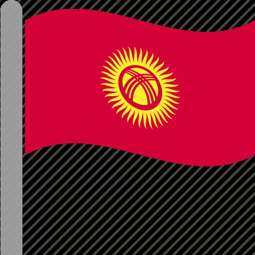 country, flag, kgz, kyrgyzstan, kyrgyzstani, pole, waving icon