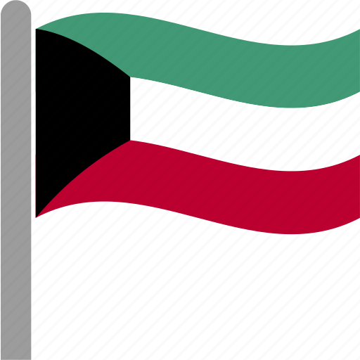 country, flag, kuwait, kuwaiti, kwt, pole, waving icon