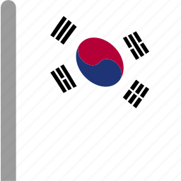 country, flag, korea, korean, pole, south, waving icon