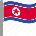 country, flag, korea, korean, north, pole, waving icon