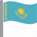 country, flag, kaz, kazakhstan, kazakhstani, pole, waving icon