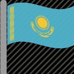 country, flag, kaz, kazakhstan, kazakhstani, pole, waving icon