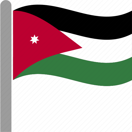 country, flag, jor, jordan, jordanian, pole, waving icon