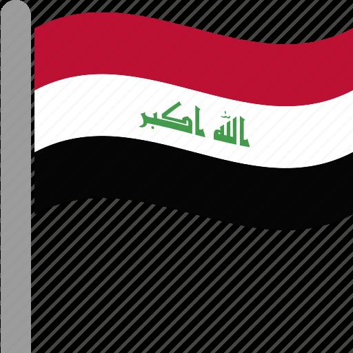country, flag, iraq, iraqi, irq, pole, waving icon