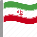 country, flag, iran, iranian, irn, pole, waving icon