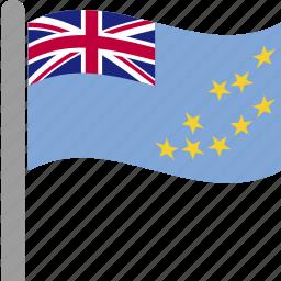 country, flag, pole, tuv, tuvalu, tuvaluan, waving icon