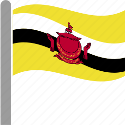 brunei, country, darussalam, flag, pole, waving icon