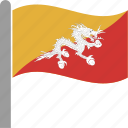 bhutan, bhutanese, btn, country, flag, pole, waving icon
