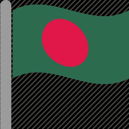 bangla, bangladesh, bangladeshi, bengali, flag, taka, waving icon
