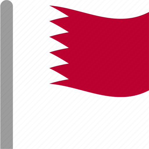 bahrain, bahrini, bhr, country, flag, pole, waving icon