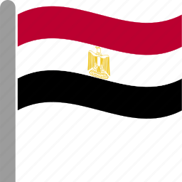 country, egypt, egyptian, flag, pole, waving icon