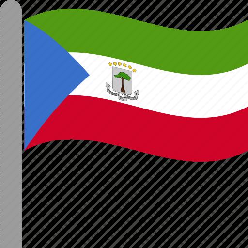country, equatorial, flag, gnq, guinea, pole, waving icon