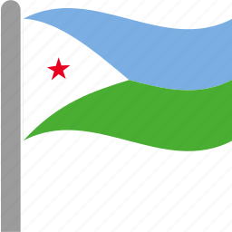 country, dji, djibouti, djiboutian, flag, pole, waving icon