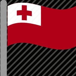country, flag, pole, ton, tonga, tongan, waving icon