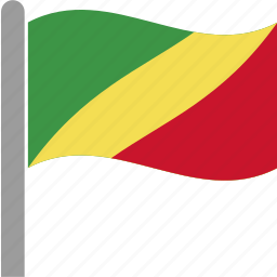 cfa, congo, country, flag, pole, republic, waving icon