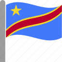 congo, congolese, country, democratic, flag, republic, waving icon