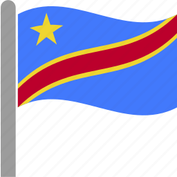 congo, congolese, country, democratic, flag, republic, waving icon