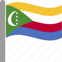 comores, comorian, comoros, country, flag, pole, waving icon