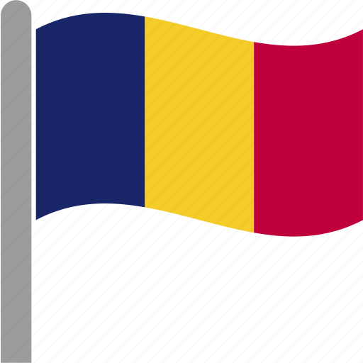 country, flag, pole, romania, romanian, rou, waving icon