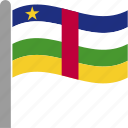 caf, central, country, flag, pole, republic, waving icon