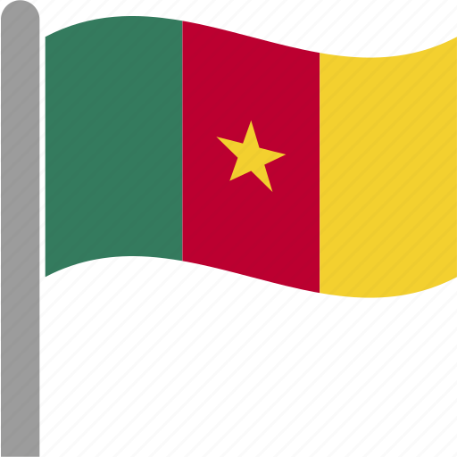 cameroon, cmr, country, flag, pole, waving icon