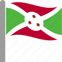 burundi, burundian, country, flag, pole, waving icon