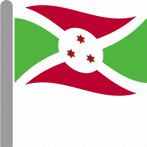 burundi, burundian, country, flag, pole, waving icon