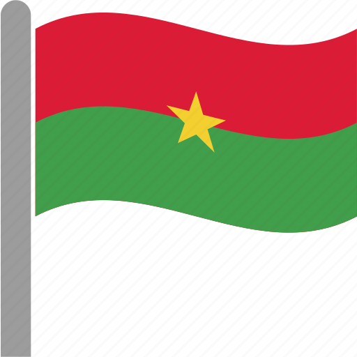 bfa, burkina, country, faso, flag, pole, waving icon