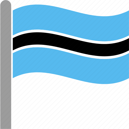 botswana, bwa, country, flag, gaborone, pole, waving icon