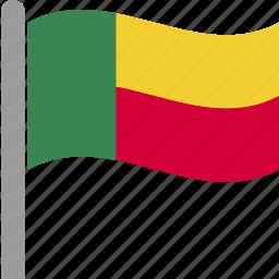 ben, benin, country, flag, pole, waving icon