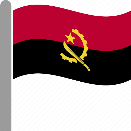 angola, angolan, country, flag, kwanza, pole, waving icon