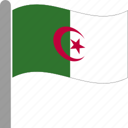 algeria, algerian, country, dza, flag, pole, waving icon