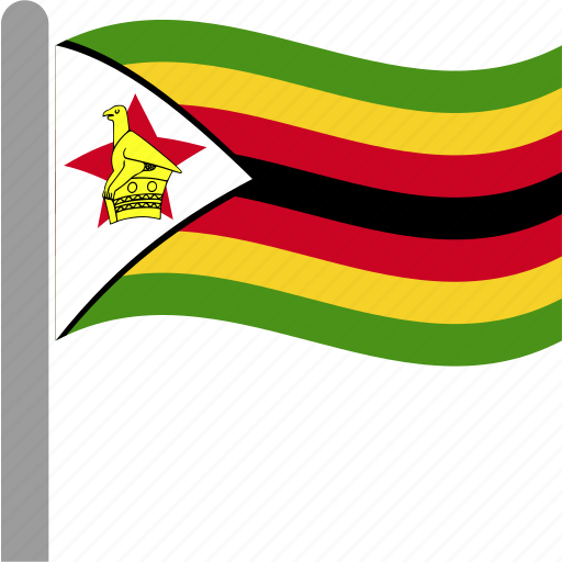 country, flag, pole, waving, zimbabwe, zwe icon