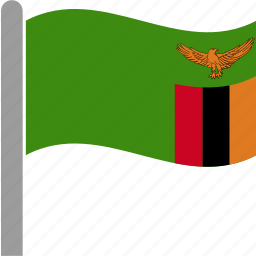 country, flag, pole, waving, zambia, zambian, zmb icon