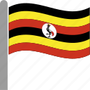 country, flag, pole, uga, uganda, ugandan, waving icon