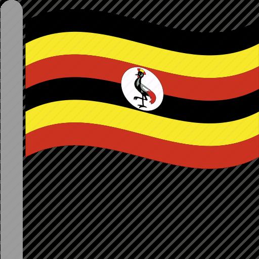 country, flag, pole, uga, uganda, ugandan, waving icon