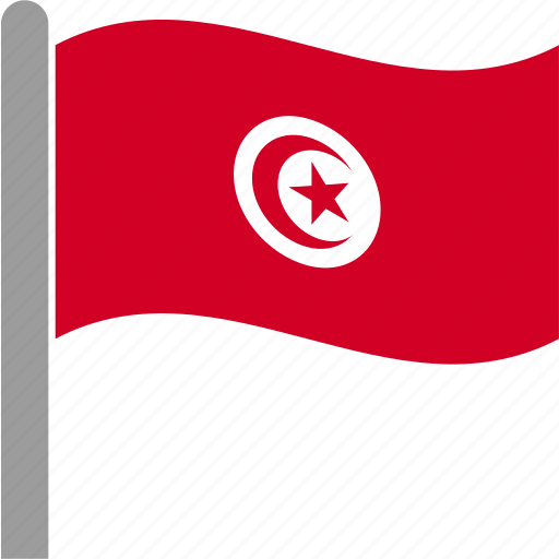 country, flag, pole, tunis, tunisia, tunisian, waving icon