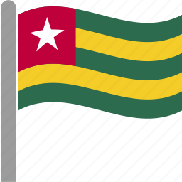 country, flag, pole, tgo, togo, waving icon