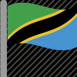 country, flag, pole, tanzania, tanzanian, tza, waving icon