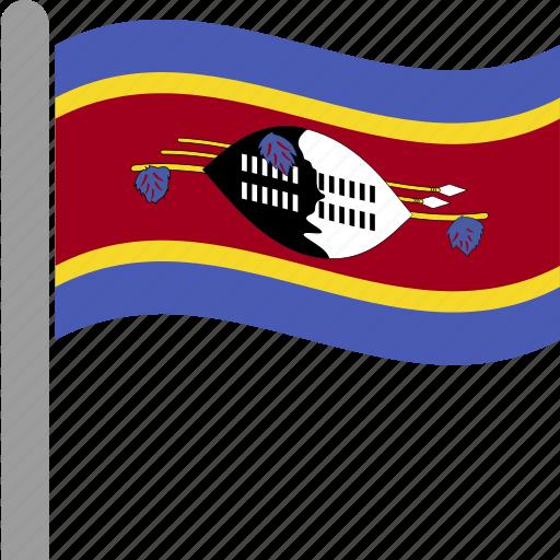country, flag, pole, swazi, swaziland, swz, waving icon