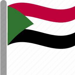 country, flag, pole, sdn, sudan, sudanese, waving icon