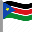 country, flag, pole, south, sudan, sudanese, waving icon