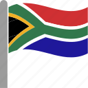 africa, country, flag, pole, south, waving, zaf icon