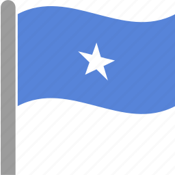 country, flag, pole, shilling, somali, somalia, waving icon