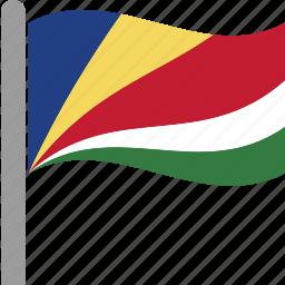 country, flag, pole, seychelles, seychellois, syc, waving icon