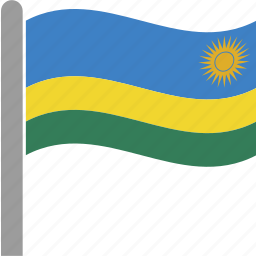 country, flag, kigalim, pole, rwanda, rwandan, waving icon