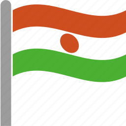 country, flag, ner, niger, pole, waving icon