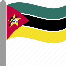 country, flag, moz, mozambican, mozambique, pole, waving icon