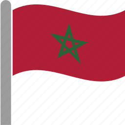 country, flag, march, moroccan, morocco, pole, waving icon